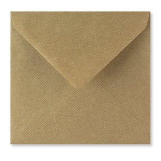 Square Envelope, 155x155 mm, kraft paper, brown, ribbed