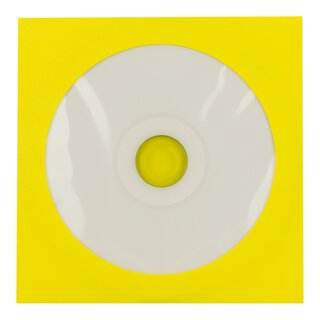 50 x Yellow CD envelopes, round window, self-adhesive...