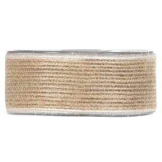Jute ribbon with white edge, 12 meter roll, various widths