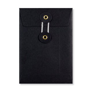 Envelope C6, black, string and button, smooth, kraft paper
