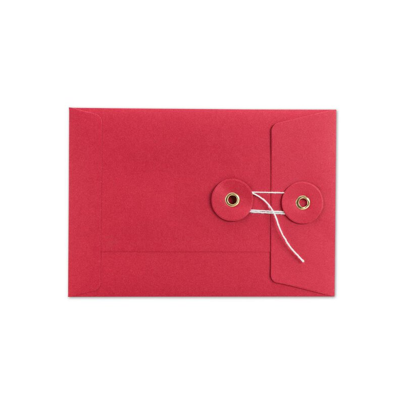 Envelope C6, red, string and button, smooth, kraft paper