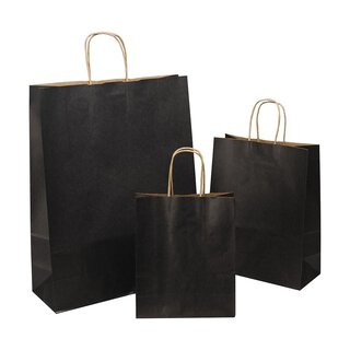 Shopping bag black, various sizes, kraft paper, ribbed,...