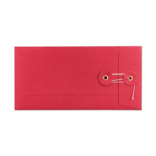 Envelope DL, 220 x 110 mm, red, string and button...