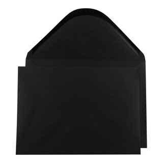 Envelope C5, black, smooth paper, wet glue, gummed flap