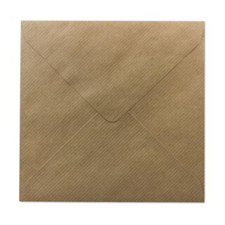 Square Envelope, 130 x 130 mm, kraft paper, brown, ribbed