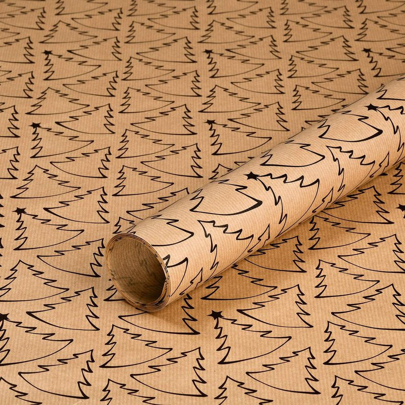 10 x Gift wrapping paper fir black or white, 50 x 70 cm, kraft paper 70 g/m²