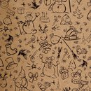 10 x Gift wrapping paper Snowman black or white, 50 x 70 cm, Kraft paper