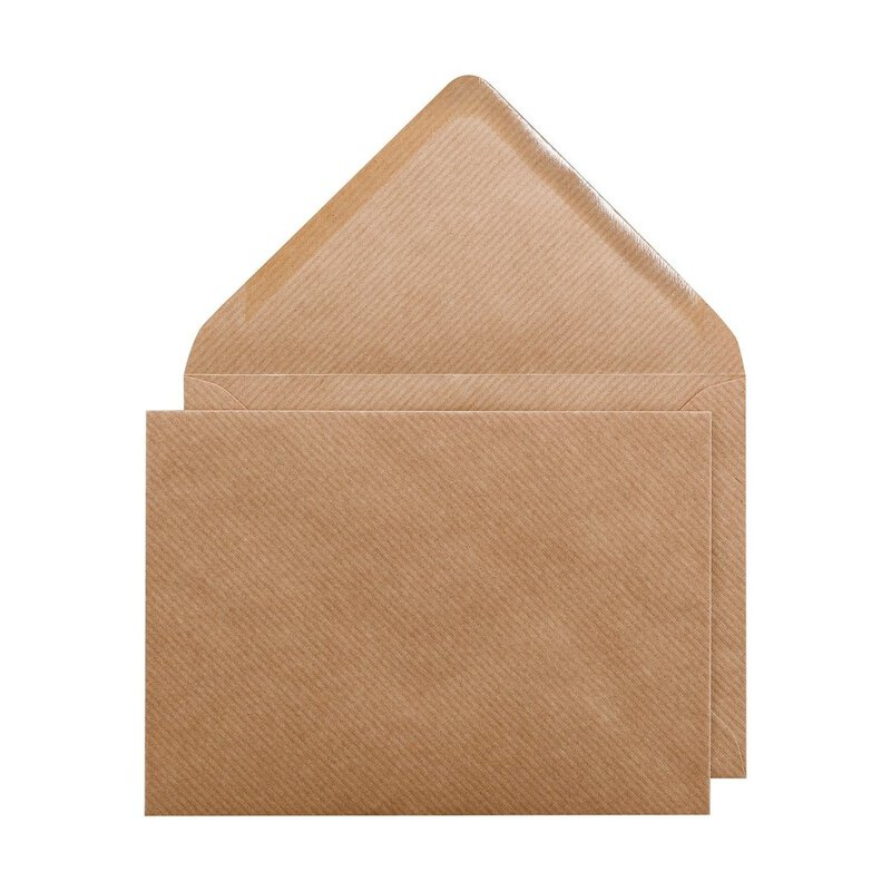 Envelope C7, brown, ribbed, kraft paper, gummed