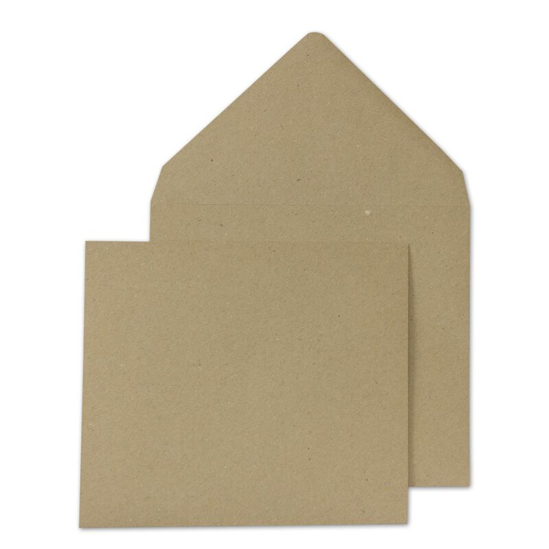 Square Envelope, 116 x 116 mm, brown, smooth recycled paper