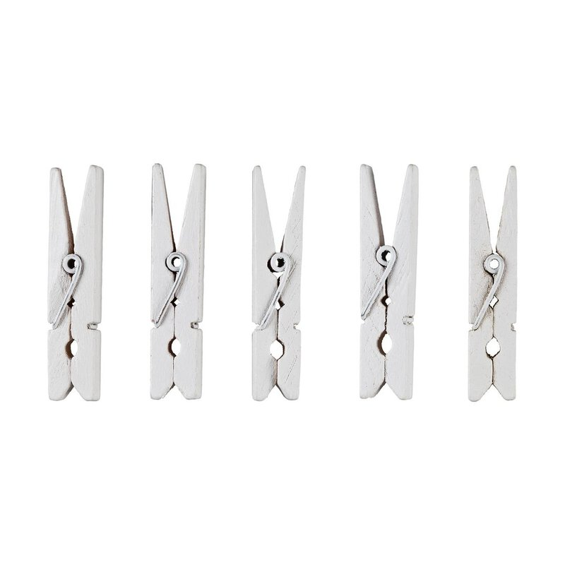 Small clothes pegs white, wood, 4,5 cm, decorative pegs - 30 pcs/pack