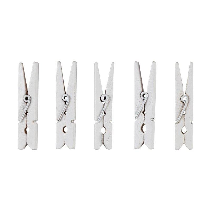Klammern 12 Stk ca 3,5 cm weiß Holz Waescheklammern Miniklammern Holzklammern