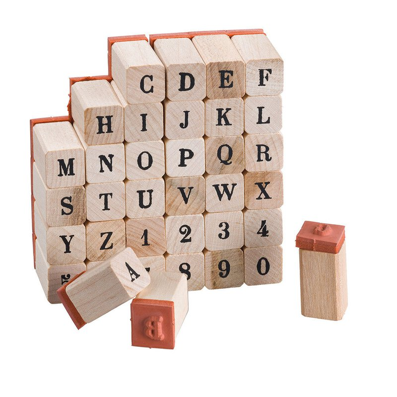 Wooden stamp set, 36 pieces, upper case