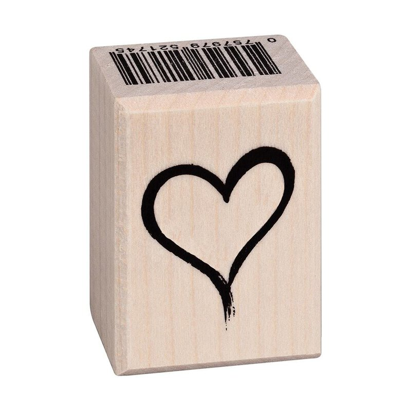 Wooden stamp heart calligraphy 25 x 35 mm
