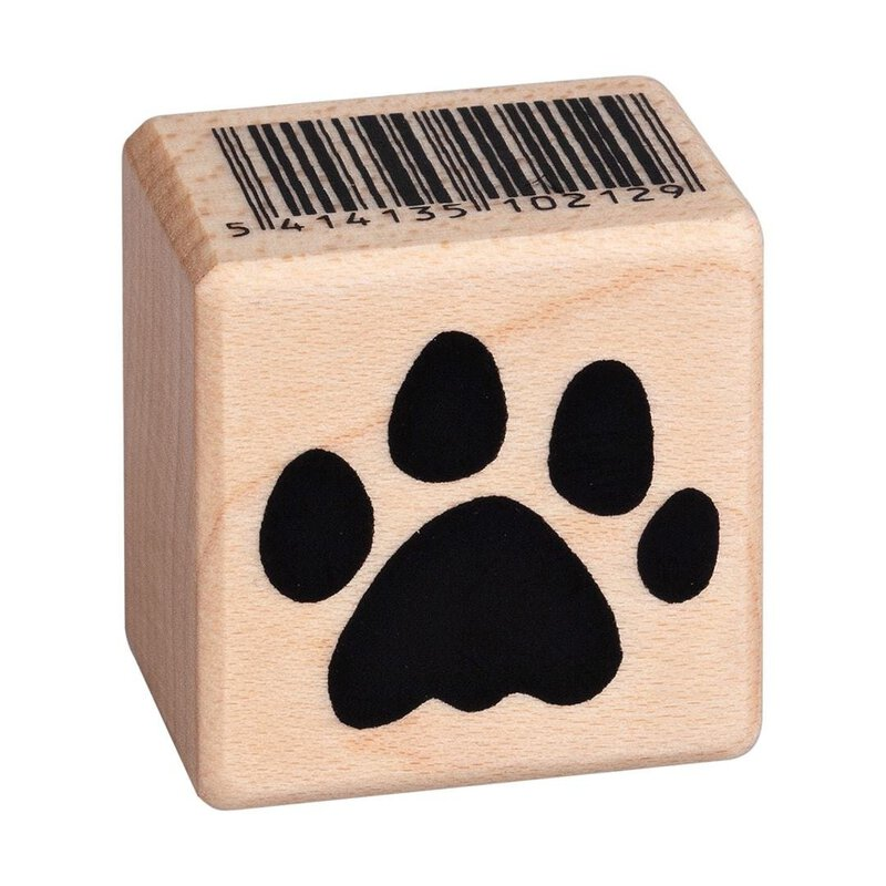 Wooden stamp kittys paw print 25 x 25 mm