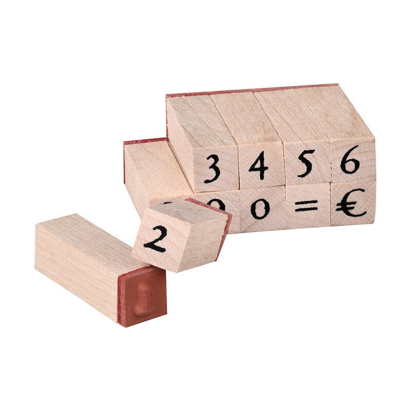 Wooden stamp set, 12 pieces, numerals