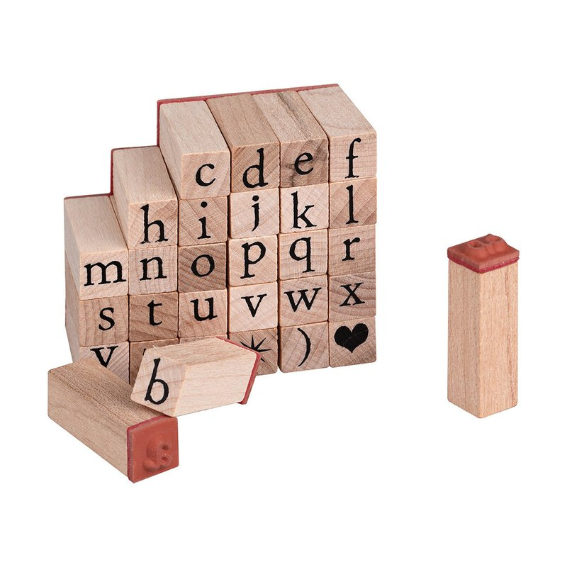 Wooden stamp set, 30 pieces, lower-case characters