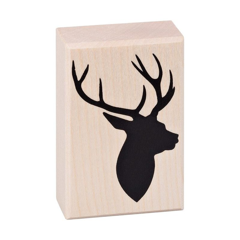 Wooden stamp stag head45 x 70 mm