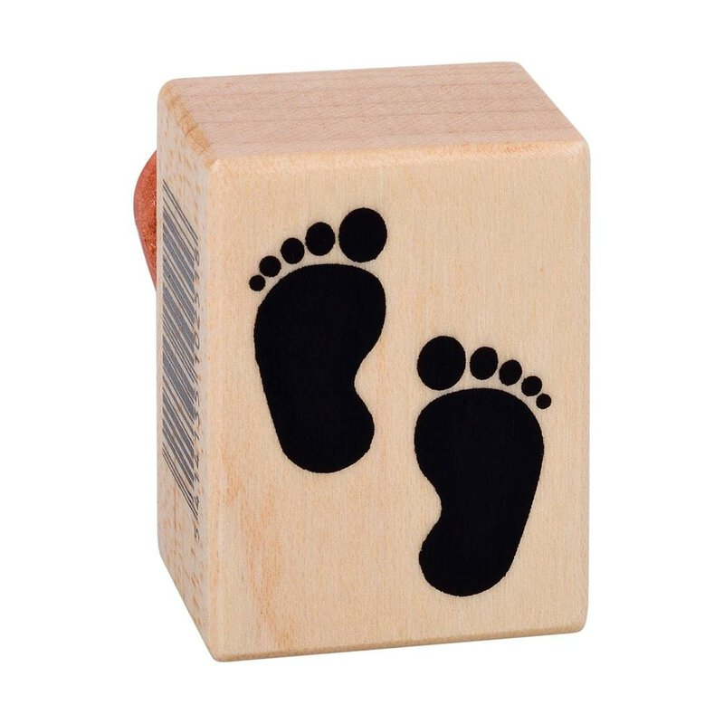 Wooden stamp two footprints baby 26 x 35 mm