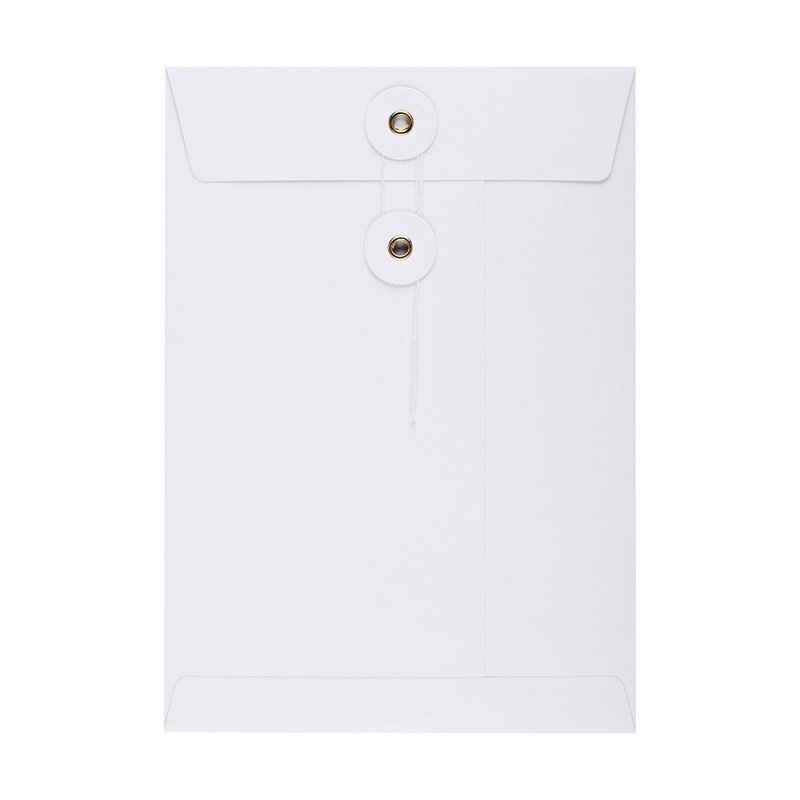 Envelope, white, with string and button, C5, smooth, kraft paper