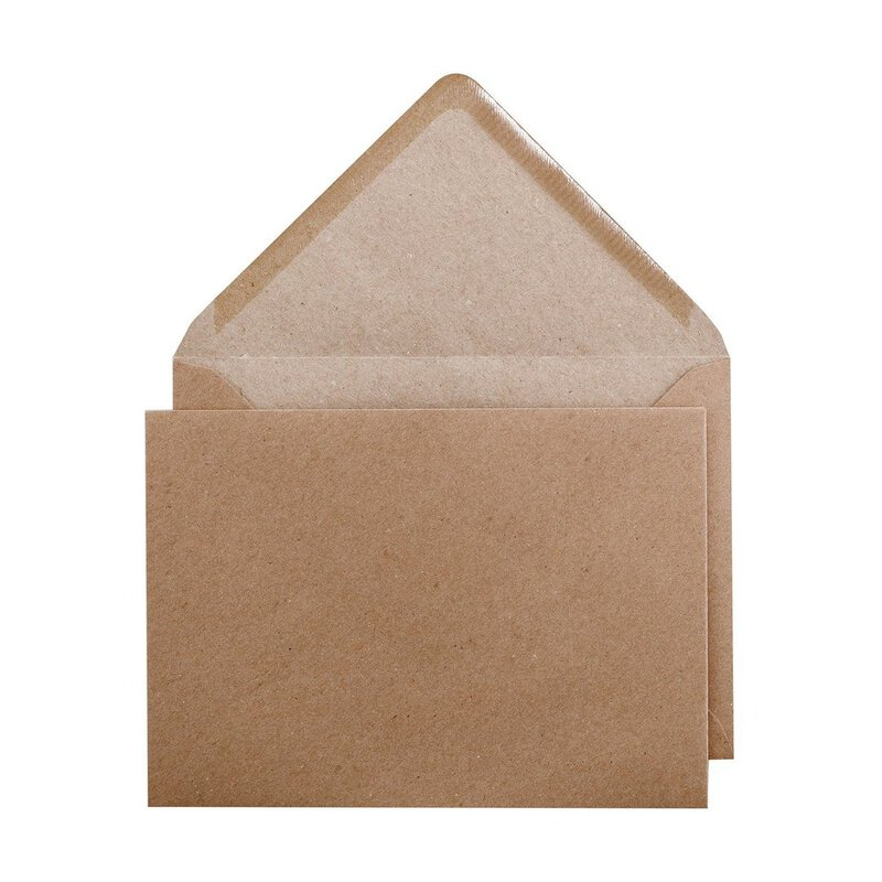 Envelope B6 125 x 175 mm, smooth, brown, recycled paper, wet adhesive
