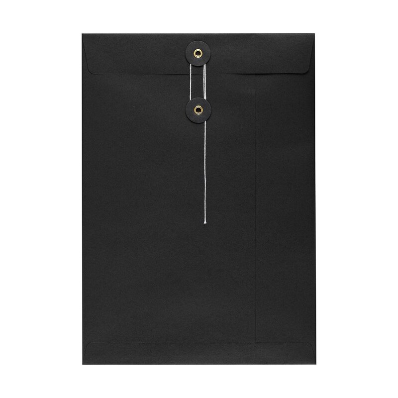 Envelope C4, black, string and button closure, smooth