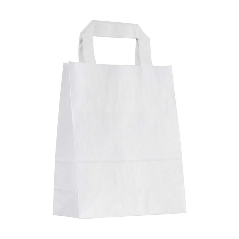 Paper bag, 18 x 22 cm, White, kraft paper smooth, flat handle