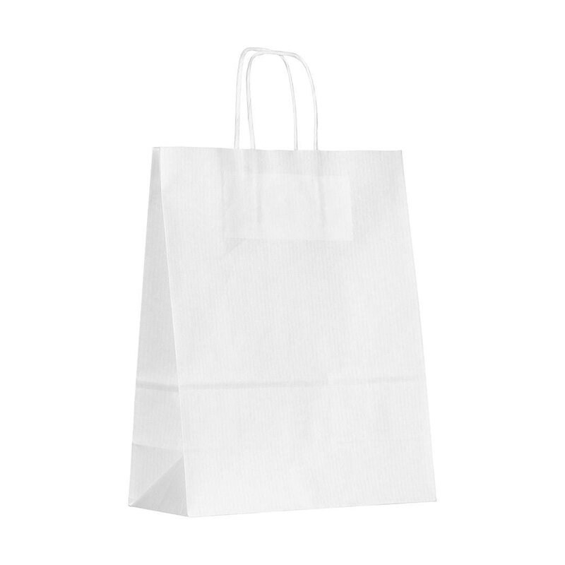 Paper bag, 22 x 28 cm, White, kraft paper ribbed, cord handle