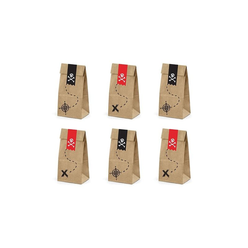 Gift bags Pirates brown with sticker, 12 pcs., kraft paper