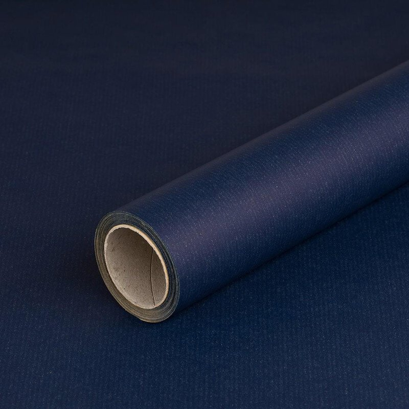 Wrapping paper blue laid paper 0,7 x 10 m, kraft paper, roll