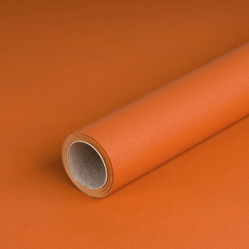 Gift wrapping paper Orange solid, kraft paper, ribbed, 60 g/m² - 1 roll 0.70 x 10 m