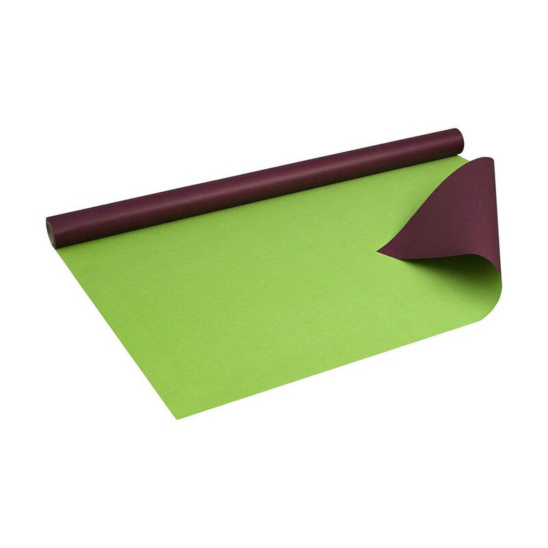 Wrapping paper 2 colors aubergine-lime, 0,8 x 10 m, kraft paper, roll