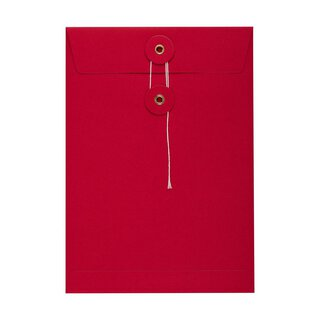 Envelope C5, red, string and button, smooth, kraft paper