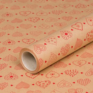 Gift wrapping paper red hearts 0,7 x 10 m, kraft paper, roll