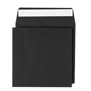 Square envelope 155 x 155 mm, black, smooth, self-adhesive