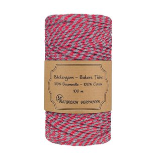 Bakers twine, red-grey, 100 m roll, 2mm