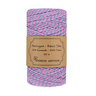Bakers twine, skyblue-pink, 100 m roll, 2mm