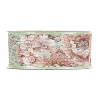 Cotton ribbon floral, mint, 40 mm x 15 m