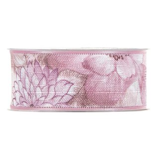 Cotton ribbon floral, pink, 40 mm x 15 m