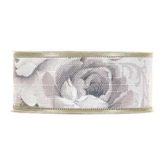 Cotton ribbon floral, grey, 40 mm x 15 m