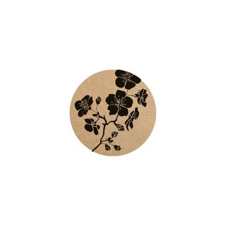 Sticker Hibiscus, 35 mm circle kraft paper, vintage label