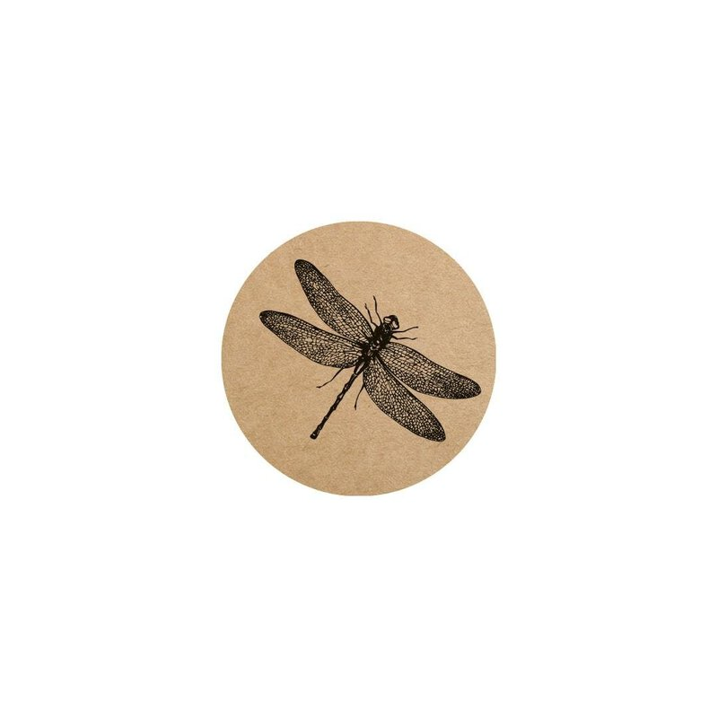 48 Sticker Dragonfly, 35 mm round, kraft paper, vintage label