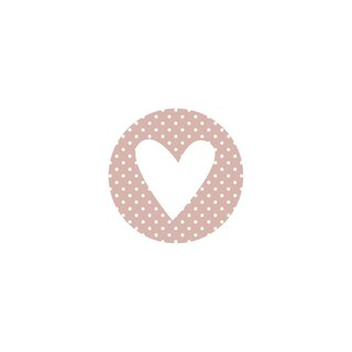 48 Sticker Pink Heart and Dots, 35 mm circle,...