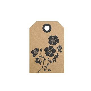 50 Hang tags »Hibiscus« gift tags, printed labels, brown
