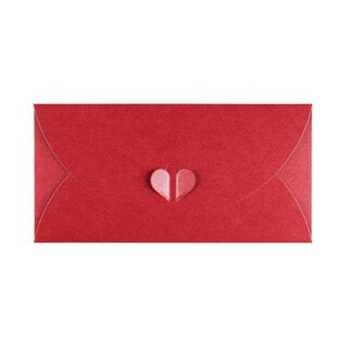 Envelope DL, Red with butterfly closure, Premium cardboard