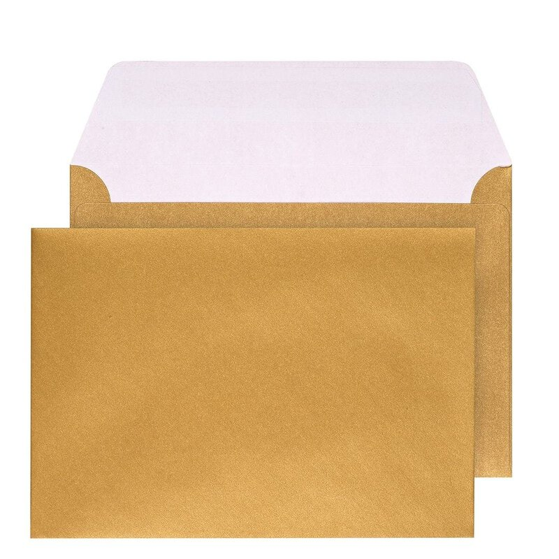 Envelopes C6, gold shiny, peel and seal wallet