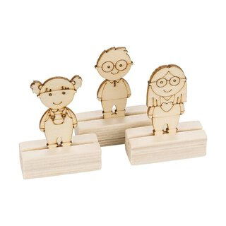 6 Wooden place cards with childrens figures