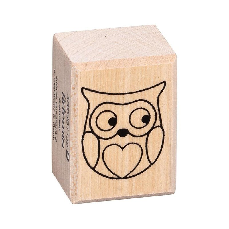 Wooden stamp owl 26 x 36 mm, contour stamp