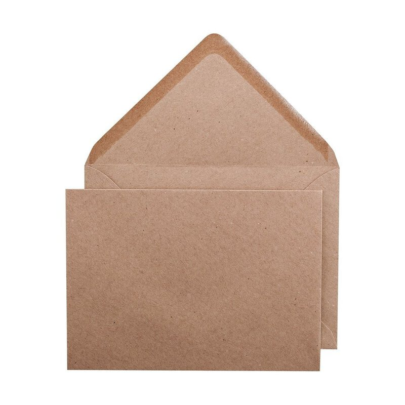 Envelope B6 KRAFT, smooth, brown, recycled paper, wet adhesive