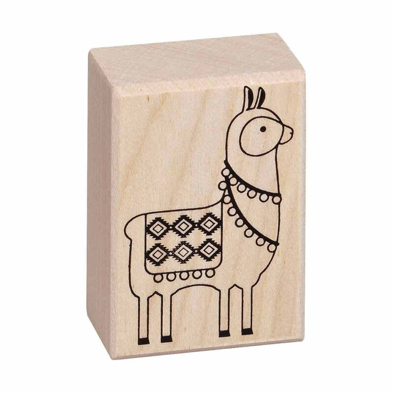 Wooden stamp alpaca 37 x 53 mm, contour stamp