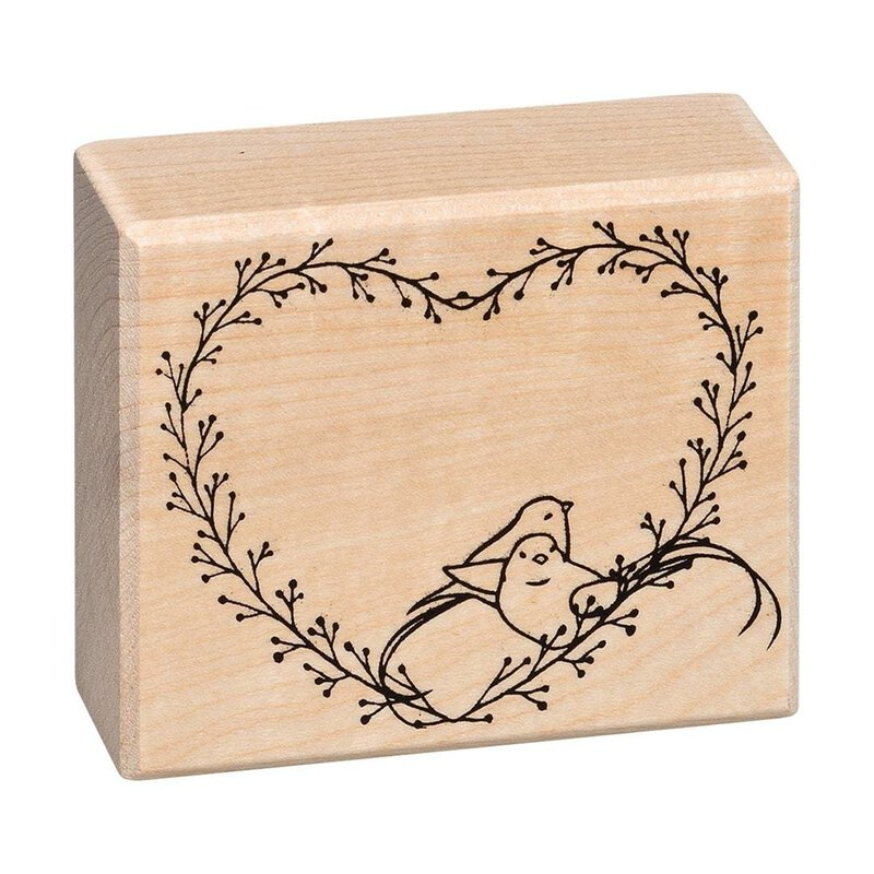 Wooden stamp heart love story 50 x 60 mm, contour stamp